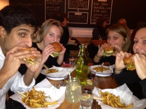 Tucking in to Ginger Pig Honest Burgers!