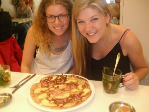 Happy Girls with Bacon and Apple Dutch Pancake