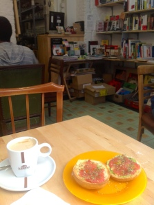 Favourite Spanish Breakfast Surrounded by Books in La Latina