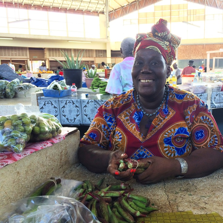 Miss Vee's market stall at Scarborough Market, Tobago
